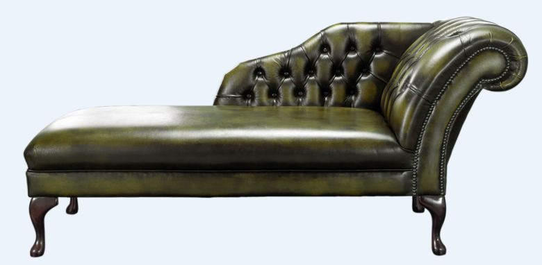 Chesterfield Chaise Antique Olive Green Leather Lounge Day Bed