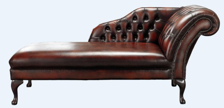 Chesterfield Chaise Antique Rust Leather Lounge Day Bed