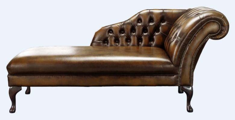 Chesterfield Chaise Antique Tan Leather Lounge Day Bed