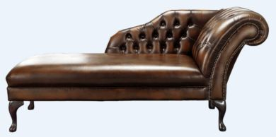 Chesterfield Chaise Antique Autumn Tan Leather Lounge Day Bed