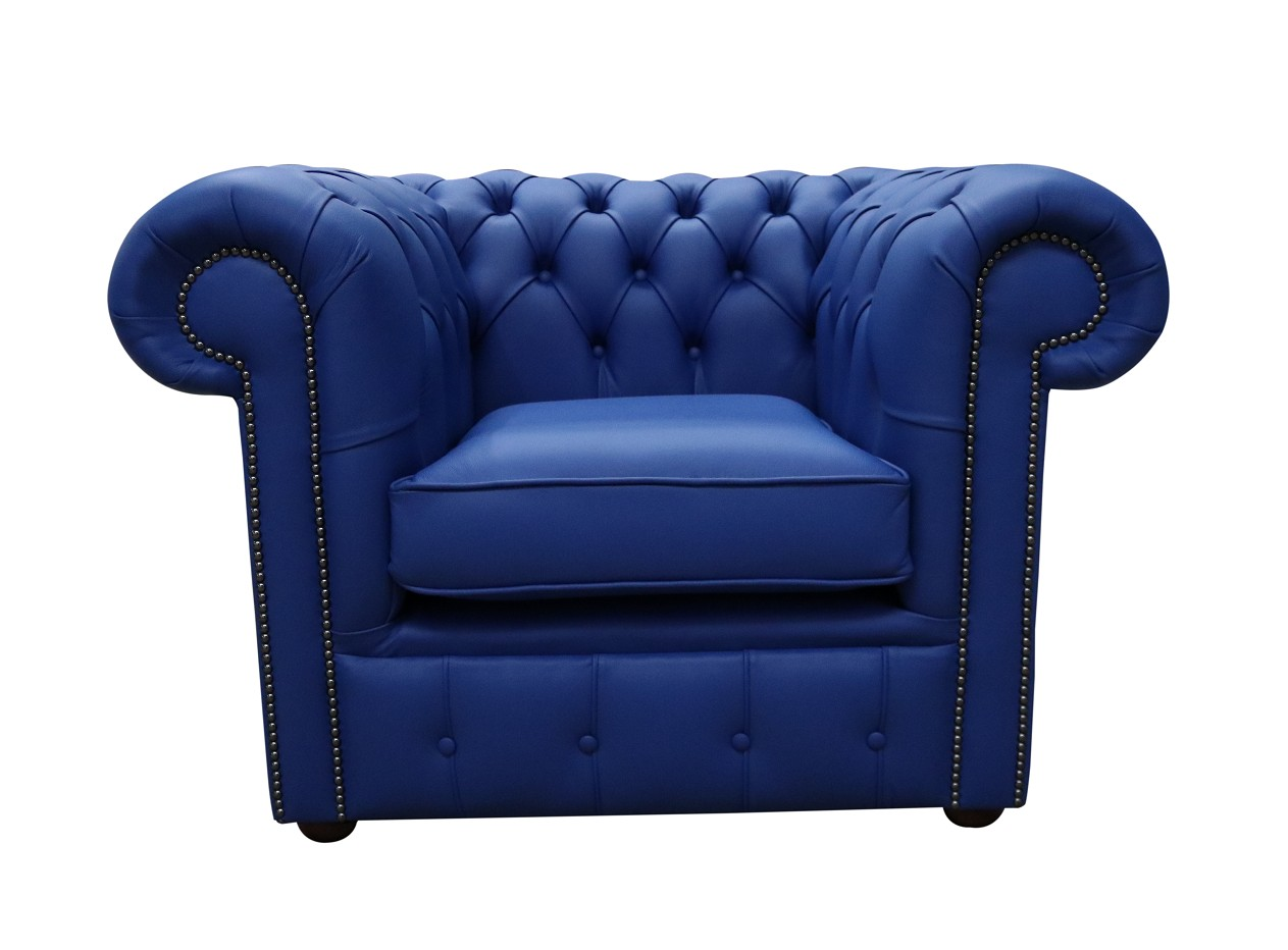 chesterfield club chair blue leather