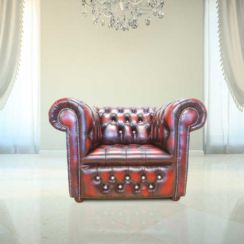 Chesterfield CRYSTALLIZED™ Elements Low Back ArmChair Oxblood Leather