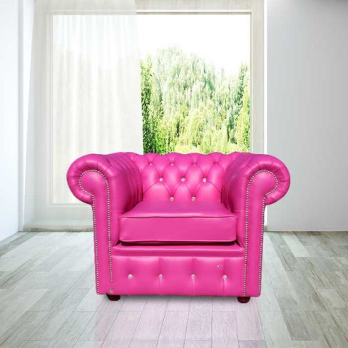 Chesterfield CRYSTALLIZED™ - Elements Low Back ArmChair Vele Pink Leather