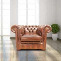 Chesterfield Low Back Club ArmChair Antique Tan Leather