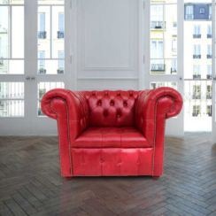 Chesterfield Low Back Club ArmChair Buttoned Seat Old English Gamay Red Leather