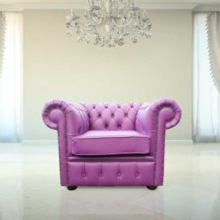 Chesterfield Low Back Club Armchair Wineberry Purple Leather