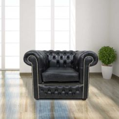 Chesterfield Winchester Low Back Club ArmChair Old English Black Leather