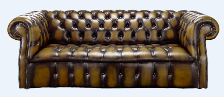 Darcy Gold antique leather Chesterfield sofa | DesignerSofas4U