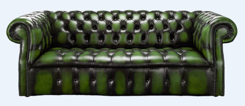 Darcy Green antique leather Chesterfield sofa | DesignerSofas4U