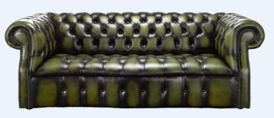 Chesterfield Darcy 3 Seater Antique Olive Green Leather Sofa Offer