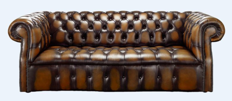 Gold antique leather Chesterfield sofa | DesignerSofas4U