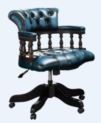 Chesterfield Captains Office Chair Antique Blue Leather