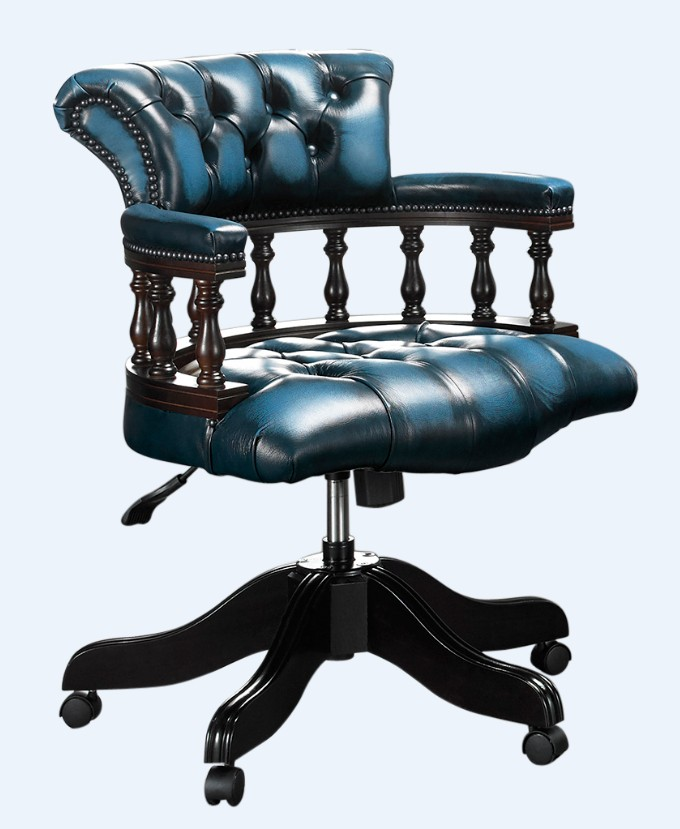Remarkable Chesterfield Captains Office Chair Antique Blue Leather Inzonedesignstudio Interior Chair Design Inzonedesignstudiocom