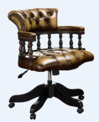 Chesterfield Captains Office Chair Antique Gold Leather