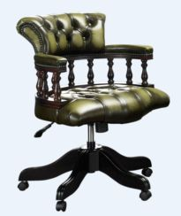 Chesterfield Captains Office Chair Antique Olive Green Leather
