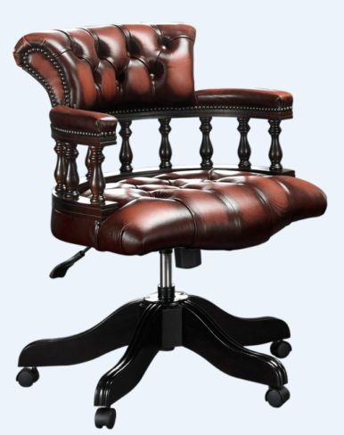 Chesterfield Captains Office Chair Antique Rust Leather
