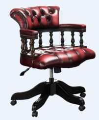 Chesterfield Captains Office Chair Antique Oxblood Leather