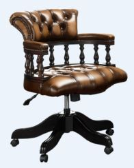 Chesterfield Captains Office Chair Antique Tan Leather
