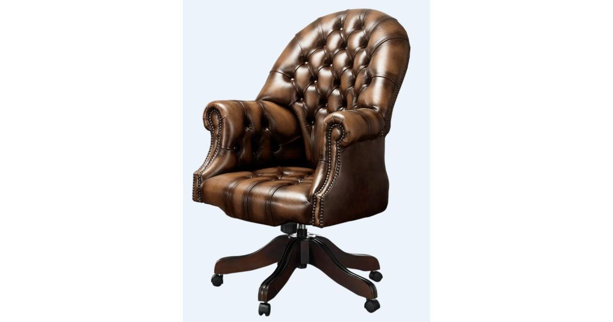 Designersofas4u Solid Mahogany Leather Chesterfield