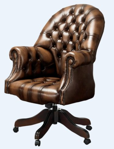 DesignerSofas4U | Solid mahogany leather Chesterfield office chair