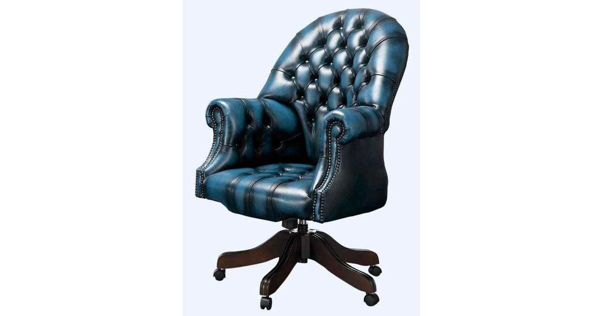 Designersofas4u Autumn Blue Leather Chesterfield Office