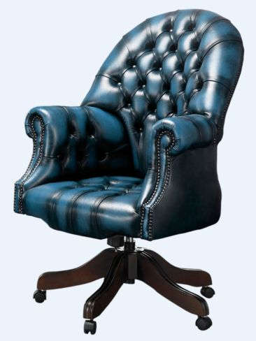 Chesterfield Directors Office Chair Antique Blue Leather