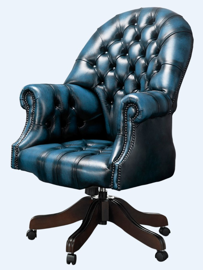 Awe Inspiring Chesterfield Directors Office Chair Antique Blue Leather Inzonedesignstudio Interior Chair Design Inzonedesignstudiocom