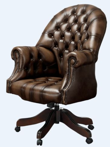 Chesterfield Directors Office Chair Antique Brown Leather