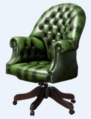 Chesterfield Directors Office Chair Antique Green Leather