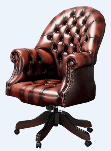 Chesterfield Directors Office Chair Antique Light Rust Leather
