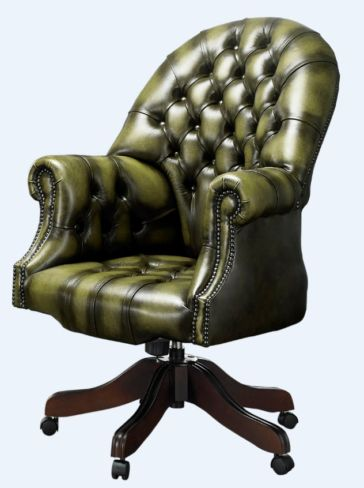 DesignerSofas4U | Olive leather Chesterfield office chair