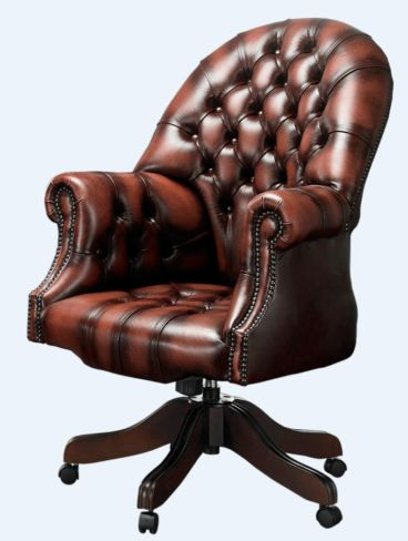 Chesterfield Directors Office Chair Antique Rust Leather