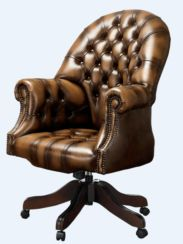 DesignerSofas4U | Tan leather Chesterfield office chair