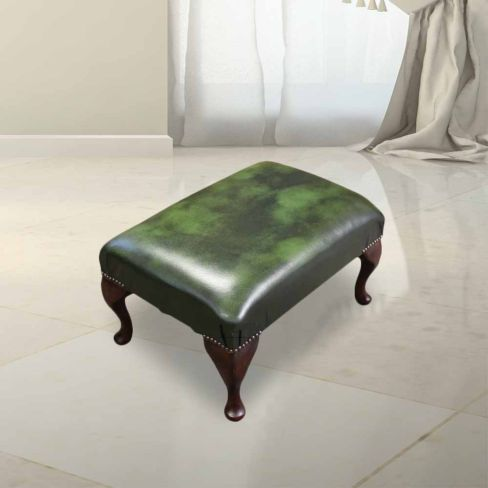 Chesterfield 1930's Queen Anne Footstool UK Manufactured Antique Green Leather