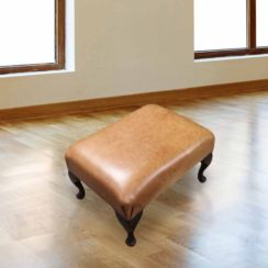 Chesterfield 1930's Queen Anne Footstool UK Manufactured Old English Saddle
