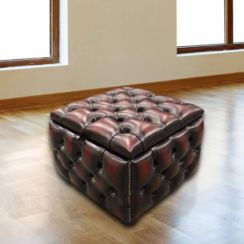 Chesterfield Buttoned Storage Box Pouffe Footstool UK Manufactured Antique Oxblood leather