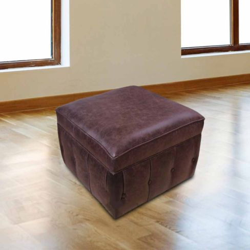 Chesterfield Footstool Pouffe UK Manufactured Old English Brown
