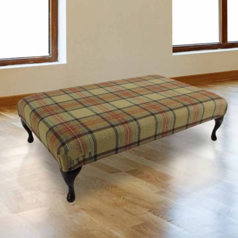 Chesterfield Queen Anne Footstool Beningborough Goldcrest Wool UK Manufactured