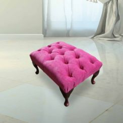 Chesterfield Queen Anne Footstool Fuchsia Pink Fabric