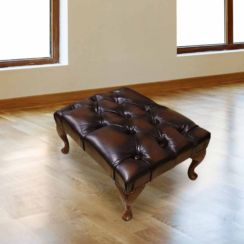Antique Brown Chesterfield Queen Anne footstool | DesignerSofas4U