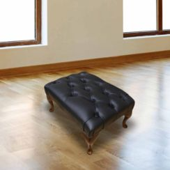 Chesterfield Queen Anne Footstool UK Manufactured Black