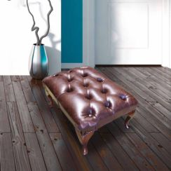 Premium Old English Brown Leather Chesterfield Queen Anne footstool | DesignerSofas4U