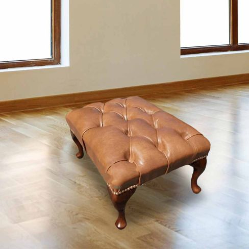 Chesterfield Queen Anne Footstool UK Manufactured Old English Tan Leather