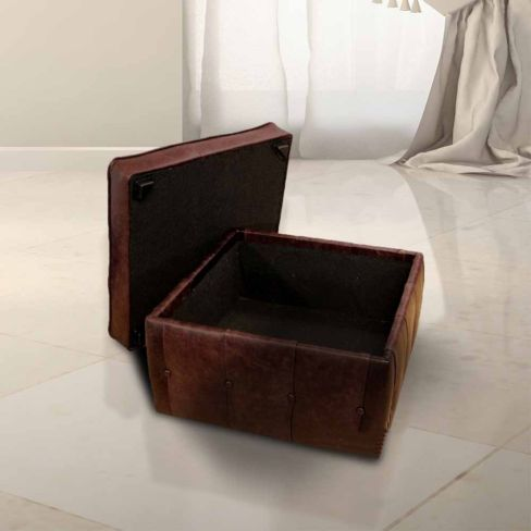 Chesterfield Storage Footstool Pouffe UK Manufactured Old English Brown