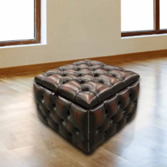 Chesterfield Buttoned Storage Box Pouffe Footstool UK Manufactured Antique Brown leather