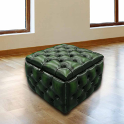 Chesterfield Buttoned Storage Box Pouffe Footstool UK Manufactured Antique Green leather