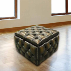 Chesterfield Buttoned Storage Box Pouffe Footstool UK Manufactured Antique Tan leather