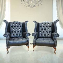 2 x Chesterfield CRYSTALLIZED™ - Swarovski Elements Queen Anne High Back Wing Chair Black Leather
