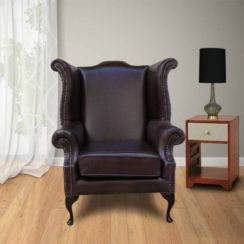 Cavendish Scroll Wing Chair High Back Wing Chair Old English Red Brown