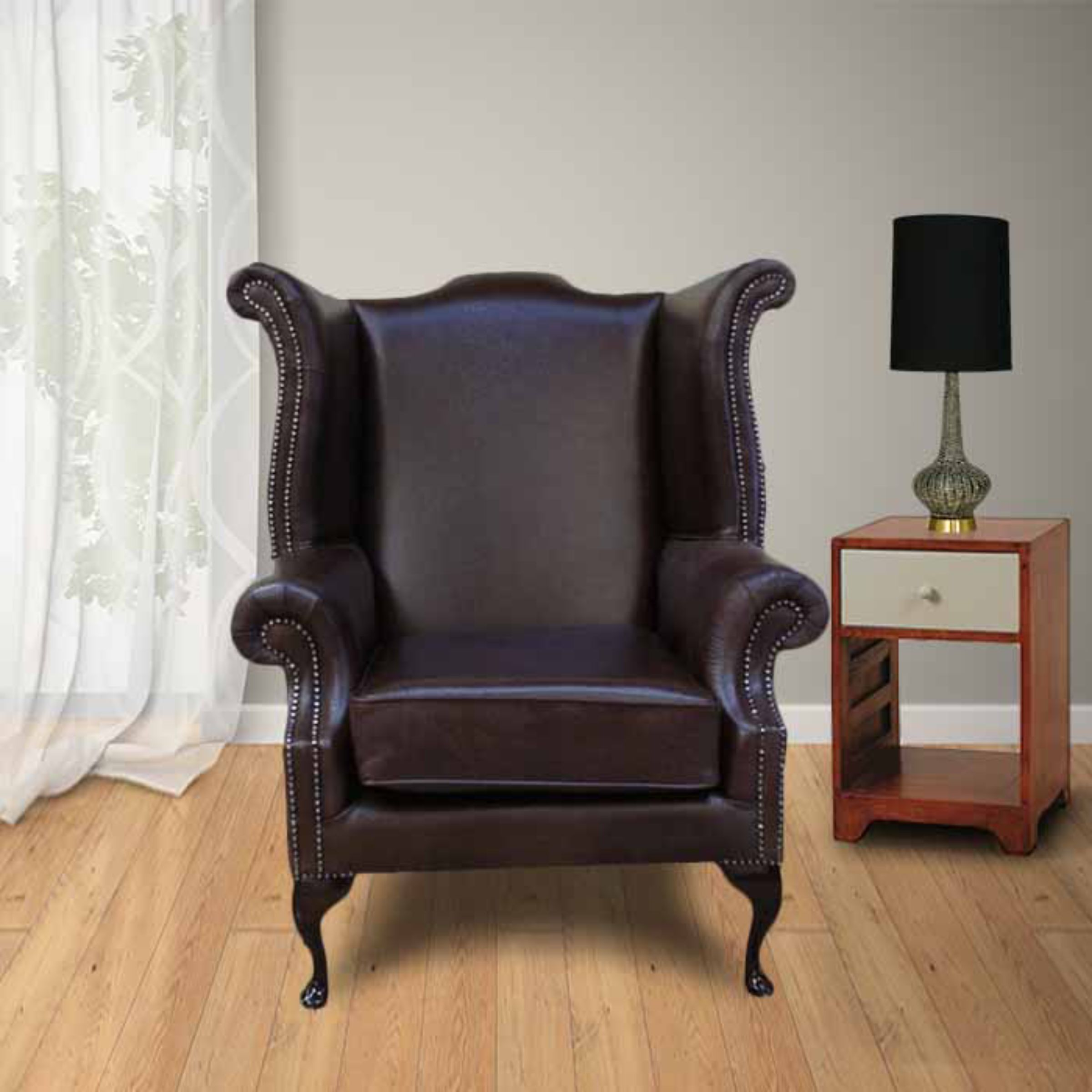 Red Cavendish Scroll High Back Wing Chair Designersofas4u